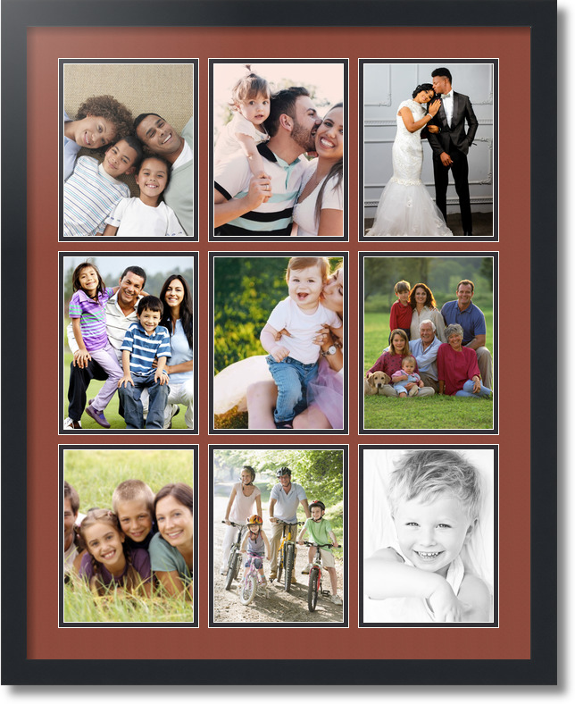 24x30 satin black collage picture frame 9 opening cognac