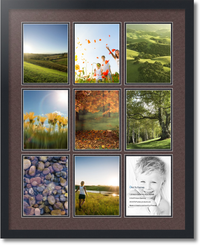 24x30 satin black collage picture frame 9 opening peat and