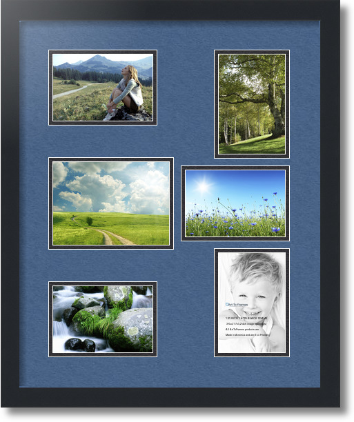 18x22 Satin Black Collage Picture Frame 6 Opening Royal