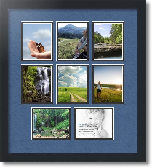 18x20 Satin Black Collage Picture Frame 8 Opening Royal