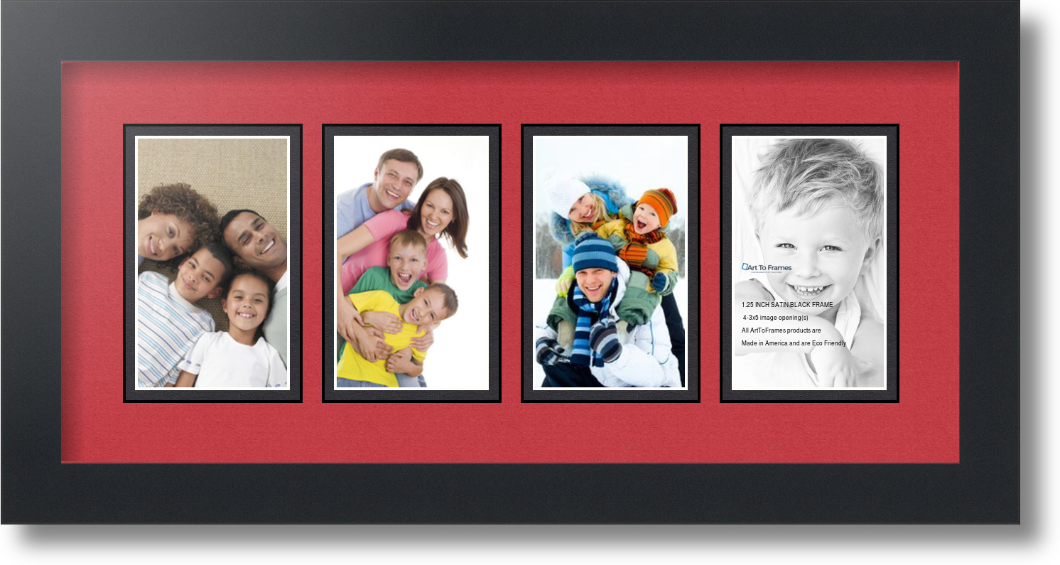 arttoframes collage mat picture photo frame 4 3x5 openings in satin black 13 ebay. Black Bedroom Furniture Sets. Home Design Ideas