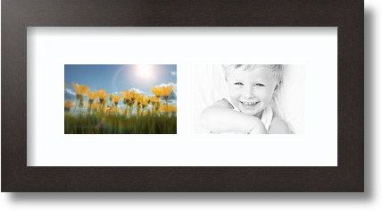 15x7 Coffee collage picture frame 2 opening Super White mat