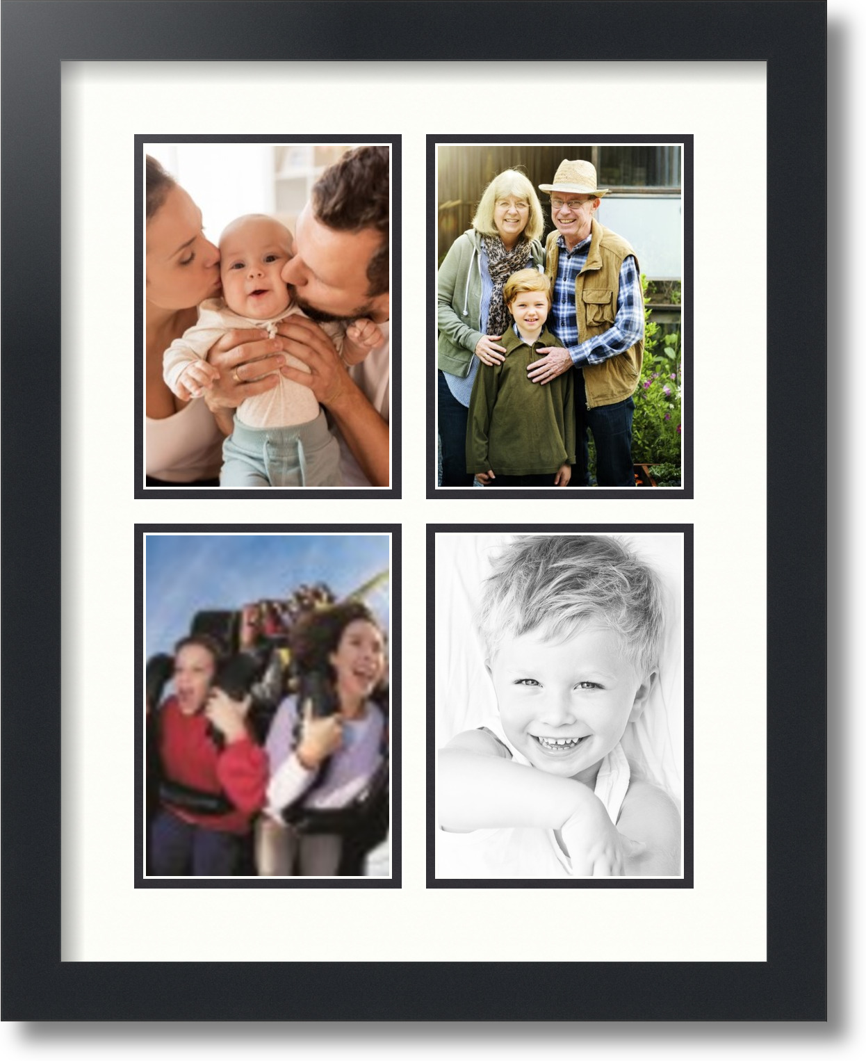 arttoframes collage mat picture photo frame 4 5x7 openings in satin black 3 ebay. Black Bedroom Furniture Sets. Home Design Ideas