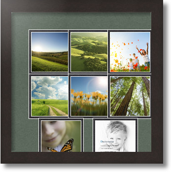 14x14 coffee collage picture frame 8 opening forest green and black mat. Black Bedroom Furniture Sets. Home Design Ideas