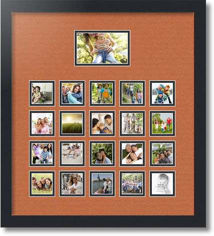18x20 Satin Black Collage Picture Frame 21 Opening Red