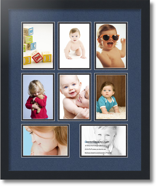 18x22 Satin Black Collage Picture Frame 8 Opening Midnight