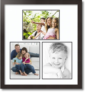 (1) 10x8 , (2) 8x10 Espresso Super White Collage Picture frame
