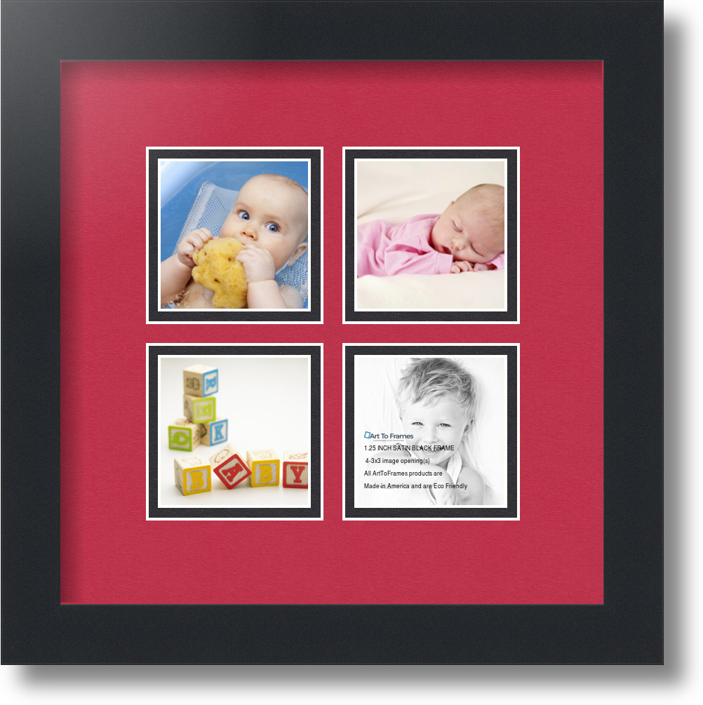 arttoframes collage mat picture photo frame 4 3x3 openings in satin black 7 ebay. Black Bedroom Furniture Sets. Home Design Ideas