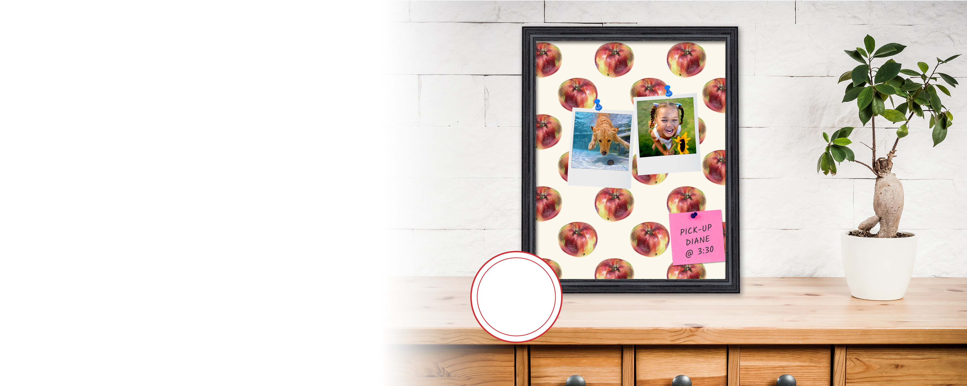 Custom printed cork board lifestyle image with red apple design