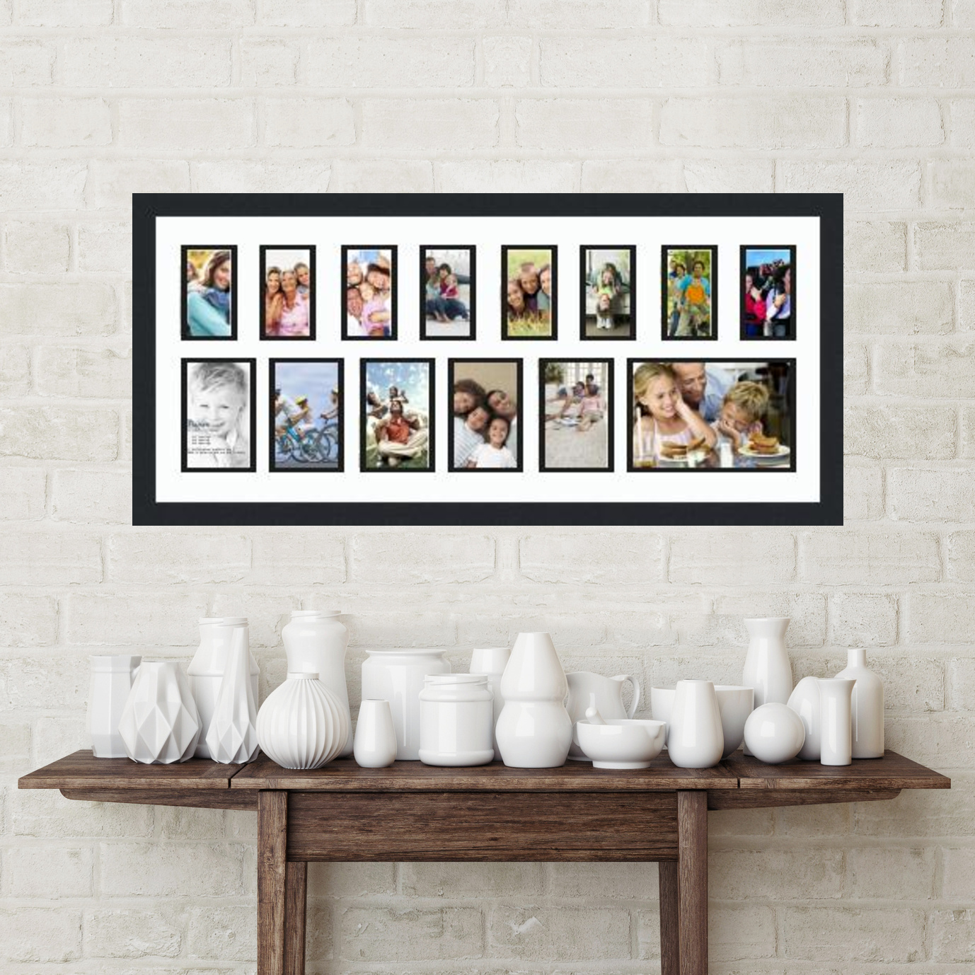 35x15 Satin Black collage picture frame 14 opening Super White and ...