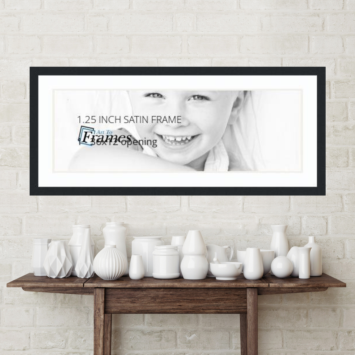 40x16 Satin Black collage picture frame 1 opening Super White and ...