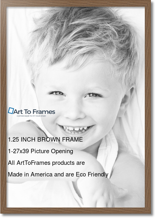 26.5x38.5 Medium Brown Oak - Barnwood Style picture frame